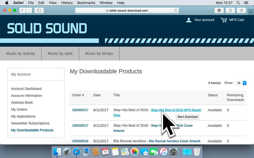 Ga naar Mijn downloadbare producten en klik op de links van de producten die je wil downloaden. De muziekbestanden worden dan naar je computer gedownload.