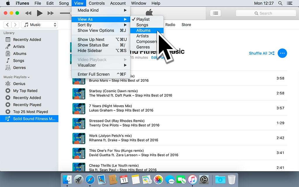 Zorg je dat in het Weergave menu 'Albums' hebt geselecteerd. iTunes toont nu het album in plaats van de aparte nummers.